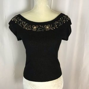 Vintage 40s 50s pin up beaded knit blouse XS / S
